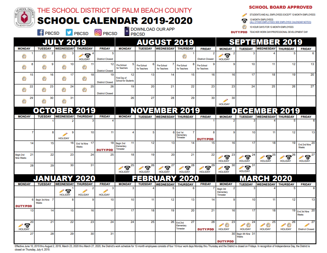 2020 District Calendar